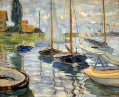 Claude Monet - Sailboats on the Seine, 1874 at the Legion of Honor (Fine Arts Museums of San Francisco CA) (by mbell1975)