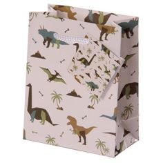 Shop today for Fun Dinosaur Print Small Glossy Gift Bag by weeabootique !
