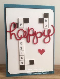 """Use grid paper and individual letter stamps to make a fun crossword puzzle for dad this year. Die-cut 'happy"""" adds some color in red.  DIY father's day card."""