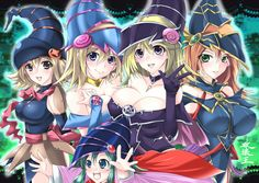 blonde_hair blue_eyes breasts brown_eyes card_ejector choker cleavage dark_magician_girl gagaga_girl green_eyes hakai-oh hat magician_valkyria magimagi_magician_gal yu-gi-oh