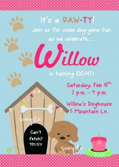 Puppy or Dog themed Birthday Party Printable Digital Invitation Puppy Birthday Parties, Puppy Party, Dog Birthday, Birthday Party Themes, Birthday Ideas, Happy Birthday, Baby Shower, Digital Invitations, Party Printables