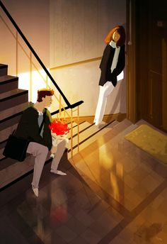 Worth the wait.#pascalcampionart_How long have you been waiting here?_ a little while.._..and you brought me flowers?_I did._You're sweet._I know._.. You want to come in?_ I do._…You're funny._I missed you._..missed you too.