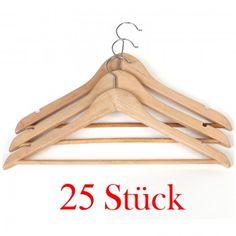 Neu Holz Kleiderbügel Gaderobenbügel mit Hosenstange 25 Stück CRW001-25