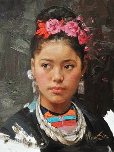 Mian Situ (Chinese/American, born 1953) - 'Girl with Flower'