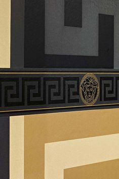 The typical Versace border in gold and black with the famous Medusa head matches our wallpaper Solea perfectly. Create a fabulous touch of luxury on your wall with our border Arabella as a crowning glory. Vinyl Wallpaper, Versace Furniture, Medusa Head, Wall Treatments, Luxury, Classic, Painting, Wall Papers, Moldings