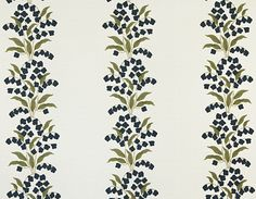 """Parlor Textiles """"Confetti Floral Stripe"""" fabric in navy"""