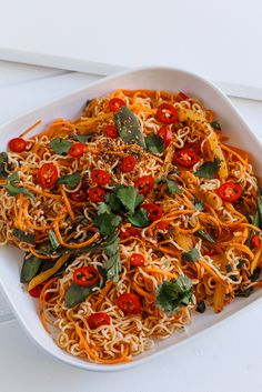 Noodles with vegetables, chili and cilantro  Anna-Maria Barouh  http://www.instyle.gr/recipe/noodles-me-tsili-ke-mange-tout/