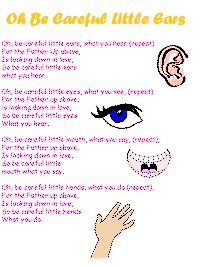 """Oh be careful little ears"". Great song to teach kids! I remember one more verse from when I was a kid (Oh be careful little feet where you go). Childrens Bible Songs, Bible Songs For Kids, Toddler Bible, Kids Worship Songs, Sunday School Songs, Toddler Sunday School, Toddler Class, Preschool Bible, Preschool Music"