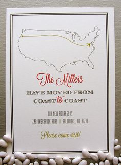 USA Coast to Coast Change of Address Card by SpillingBeans on Etsy, $1.50