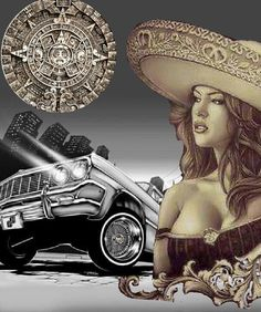 Lowrider Drawings, Arte Lowrider, Car Drawings, Chicano Tattoos, Chicano Art, Joker Brand, Cholo Art, Latino Art, Brown Pride