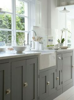 Gray and White Farmhouse Kitchen