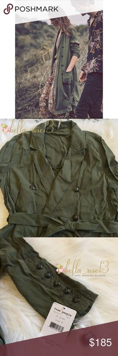Free People Military Trench Classic and edgy twist on the trench- Free People trench is 100% Lyocell, military button front + sleeves, notch lapels, relaxed fit, brand new. No trades  Free People Jackets & Coats Trench Coats