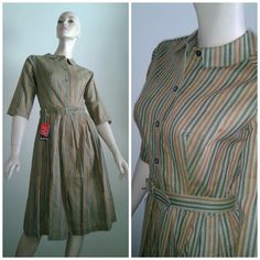 Vintage 50s/60s Cotton Dress/Green or by Joannesvintagecloset