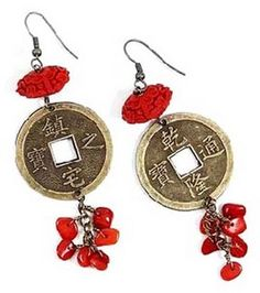 Red Cinnabar Beads Earrings with Big Chinese Coin : jewelry & beading :  Shop | Joann.com