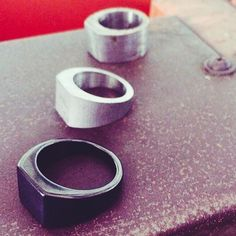 A photo showing the evolution of our Lourd ring. Because it is made from tungsten, the ring must be cut and polished using diamond tools and abrasives, because diamonds are about the only thing tougher than tungsten // $80 // vitalydesign.com #vitaly #evolution