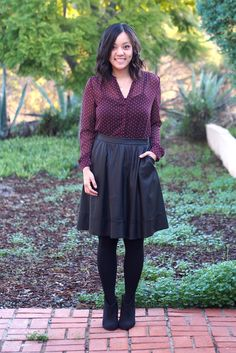 (dress-up) maroon polka dot top, leather skirt, black tights, black ankle booties