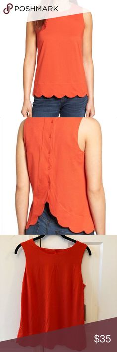 """NWT Halogen Scallop Button Back Tank NWT orange-red scallop tank with button back. Elegant petal back. Stretchy material. Perfect for summer! Color is closer to my photos (more red)   23.5"""" shoulder to hem  17"""" armpit to armpit Halogen Tops Tank Tops"""