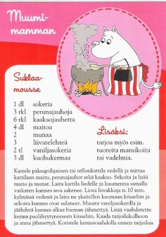 All things moomin. Moomin Mugs, Finnish Recipes, Delicious Desserts, Yummy Food, Sweet Pastries, Baking With Kids, Old Recipes, Recipe Cards, Love Food