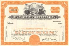 Cool oil collectible with a stock certificate from Sinclair Oil Corporation . Nice engraved vignette of oil refinery. Money Frame, Gas Pipeline, Common Stock, Standard Oil, Oil Refinery, Filling Station, Retro Vector, Gas Station, Vector Design