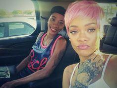 Rihanna bubblegum pink hair