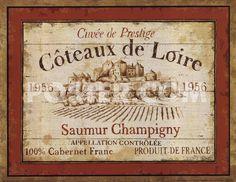 vintage wine labels for sale | French Wine Labels II by Daphne Brissonnet art print