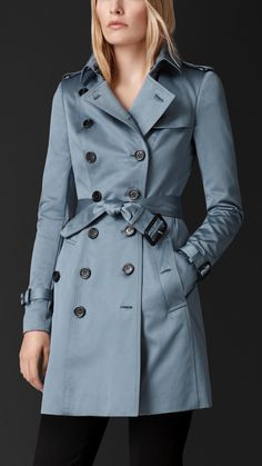 Burberry Cotton Sateen Trench Coat in Blue (stone blue) | Lyst