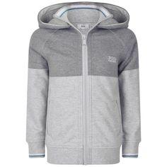 BOSS Boys Grey Jersey Zip Up Top With Hood