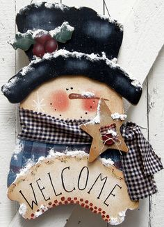 Snowman Door Hanger Snowman Christmas Outdoor Primitive Country Painted Wood Winter Hanger Tole Wood Snowman Yard Sign Snowman Yard Art