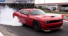 Watch this brand new Dodge Hellcat Challenger drag racing at Texas Premier Automotive Performance event. New Dodge, Dodge Challenger Srt Hellcat, Dodge Chrysler, American Muscle Cars, Drag Racing, Hot Cars, Mopar, Jeep, Muscle Power