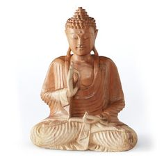 Carved in beautifully intricate detail, artisans work to reveal the peaceful Fearless Wooden Buddha seated within each solid block of Suar wood. Wooden Statues, Wooden Figurines, Wooden Art, Wooden Decor, Ceramic Decor, Buddha Sculpture, Wood Sculpture, Buddha Garden, Branch Decor