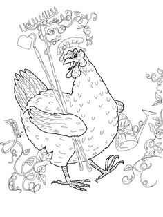 Little Red Hen Coloring pages. Select from 31983 printable Coloring pages of cartoons, animals, nature, Bible and many more. Chicken Crafts, Chicken Art, Chicken Signs, Free Printable Coloring Pages, Coloring Book Pages, Little Red Hen Activities, Printable Crafts, Printables, Galo