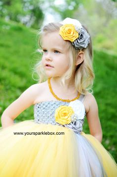 Mustard and gray headband and dress by YOUR SPARKLE BOX