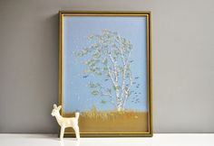 Vintage Framed Crewel Embroidered Birch Tree by thewhitepepper