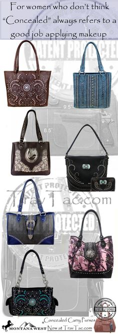 Montana West Concealed Carry Purses and Handbags now at www.Travtac.com  CCW with style for women