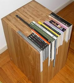Custom Coffee Table - Janedandy will create a custom table with your book faves. Looks really cool but a big commitment on which books to display and still looks kind of cluttery to me.