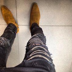 saint laurent 2014 chain jeans suede boots biker