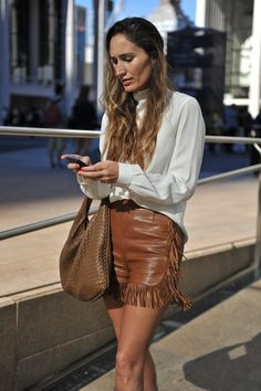 Leather shorts + a great breezy blouse = perfect outfit for Indian summer. I want.