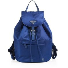 Prada Vela Backpack ($890) ❤ liked on Polyvore featuring bags, backpacks, royal blue, draw string backpack, drawstring backpack, strap backpack, zip bag and prada