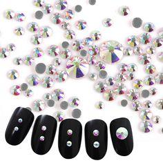 400Pcs Colorful AB Nail Rhinestone Multi-size Flat Bottom 3D Nail Decoration Manicure Nail Art Decorations #Affiliate