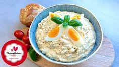 Ei-Aufstrich mit Quark - Rezept von Thermiliscious Feta, Oatmeal, Eggs, Breakfast, Quark Recipes, Sandwich Spread, Food Portions, Food Food, Breakfast Cafe