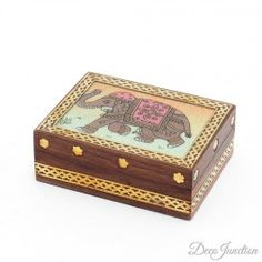 A lovely, vintage-type wooden box with a simple Rajasthani style picture of an elephant!  Buy it here: http://www.decojunction.com/wooden-craft/wooden-box.html