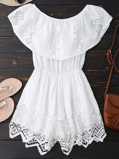 Lace Trim Cut Out Off Shoulder Romper - Cute Teen Outfits, Cute Summer Outfits, Classy Outfits, Pretty Outfits, Cool Outfits, Casual Outfits, Off Shoulder Romper, Country Dresses, Girl Fashion