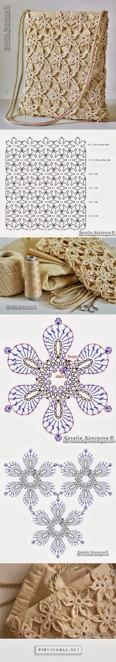 """- """"Outstanding Crochet: Limited time free pattern/tutorial for Crochet Summer Tote Bag. Very detailed instructions."""" the charts again! Crochet Diagram, Crochet Chart, Crochet Motif, Crochet Flowers, Crochet Stitches, Crochet Granny, Crochet Doilies, Crochet Diy, Irish Crochet"""
