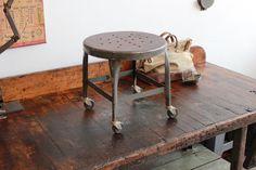 Vintage Industrial Uhl Toledo Stool/ Side Table w/ Steel Seat  ca. 1940s