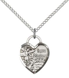 Sterling Silver St. Michael Heart Pendant with 18' Sterling Silver Lite Curb Chain. Patron Saint of Police Officers/EMTs >>> Want additional info? Click on the image. (This is an affiliate link) #Necklaces