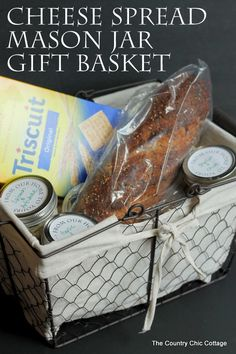 Give a fun gift basket with this cheese spread mason jar gift idea.  This post also has free printable labels for the tops of the jars!