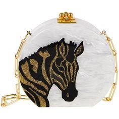 Edie Parker Oscar Round Zebra Clutch Bag ($1,645) ❤ liked on Polyvore featuring bags, handbags, clutches, white, glitter handbag, chain strap purse, zebra purse, kisslock purse and white handbags