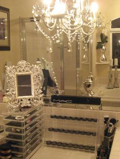 Makeup displayed storage ~ I want my vanity to look like this!