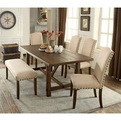 ShopHQ Shopping - Furniture of America Tertius Rustic Dining Set. Add a rustic look to your dining room with this seven-piece dining set. The bold, panel-designed table has a rustic walnut finish that boldly complements t Kitchen Dining Sets, 7 Piece Dining Set, Dining Room Bar, Dining Room Design, Dining Room Furniture, Dinning Room Paint Ideas, Furniture Design, Teak Furniture, Hooker Furniture