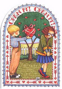 Valentine's Day   Mary Engelbreit Open It! Card  Adorable Valentine's Day Card.  Front: Open It! Open It!  Inside: My heart is yours.